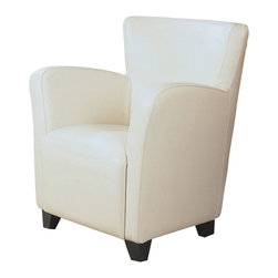 Monarch Specialties - Monarch Specialties I 8069 Ivory Leather-Look Club Chair - With its high back and curvaceous frame, the Europa accent chair will be a stylish addition to any room in your home. A sinuous spring base and curved seat back provide supportive comfort, while bold track arms and a deep, slightly scooped seat surround you in modern style. Tapered block style wooden feet anchor the base of the chair and is offered in your choice of dark brown, wine red, ivory or bold black leather look material. Accent Chair (1)