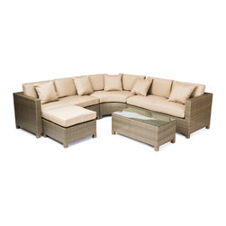 "Reef Rattan - Reef Rattan 5 Piece Sectional Sofa Set - Chocolate Rattan / Beige Cushions - Reef Rattan 5 Piece Sectional Sofa Set - Chocolate Rattan / Beige Cushions. This patio set is made from all-weather resin wicker and produced to fulfill your needs for high quality. The resin wicker in this patio set won't fade, shrink, lose its strength, or snap. UV resistant and water resistant, this patio set is durable and easy to maintain. A rust-free powder-coated aluminum frame provides strength to withstand years of use. Sunbrella fabrics on patio furniture lends you the sophistication of a five star hotel, right in your outdoor living space, featuring industry leading Sunbrella fabrics. Designed to reflect that ultra-chic look, and with superior resistance to the elements in a variety of climates, the series stands for comfort, class, and constancy. Recreating the poolside high end feel of an upmarket hotel for outdoor living in a residence or commercial space is easy with this patio furniture. After all, you want a set of patio furniture that's going to look great, and do so for the long-term. The canvas-like fabrics which are designed by Sunbrella utilize the latest synthetic fiber technology are engineered to resist stains and UV fading. This is patio furniture that is made to endure, along with the classic look they represent. When you're creating a comfortable and stylish outdoor room, you're looking for the best quality at a price that makes sense. Resin wicker looks like natural wicker but is made of synthetic polyethylene fiber. Resin wicker is durable & easy to maintain and resistant against the elements. UV Resistant Wicker. Welded aluminum frame is nearly in-destructible and rust free. Stain resistant sunbrella cushions are double-stitched for strength and are fully machine washable. Removable covers made with commercial grade zippers. Tables include tempered glass top. 5 year warranty on this product. Love Seat (R): W 54"" D 30"" H 27"", Love Seat (L): W 54"" D 30"" H 27"", Curved Bench: W 40"" D 20"" H 27"", Ottoman: W 26"" D 26"" H 13"", Coffee Table: W 40"" D 20"" H 16"""