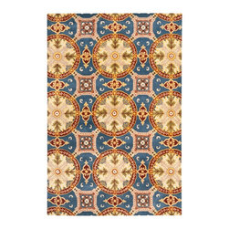 Safavieh - Pascale Hand Tufted Rug, Blue / Gold 6' X 9' - Construction Method: Hand Tufted. Country of Origin: India. Care Instructions: Vacuum Regularly To Prevent Dust And Crumbs From Settling Into The Roots Of The Fibers. Avoid Direct And Continuous Exposure To Sunlight. Use Rug Protectors Under The Legs Of Heavy Furniture To Avoid Flattening Piles. Do Not Pull Loose Ends; Clip Them With Scissors To Remove. Turn Carpet Occasionally To Equalize Wear. Remove Spills Immediately. Safavieh's artistry is vividly displayed in the Wyndham collection with designs ranging from contemporary florals to traditional global motifs. Each richly-hued rug is hand-tufted by master weavers in India of top quality wool. Several designs recreate the one-of-a-kind look of fashionable over-dyed antique rugs using a special multi-colored yarn that is meticulously colored using ages-old pot dyeing techniques. After the dye is carefully applied to each strand of wool, touches of organic viscose are added for soft silky luster as special highlights accents.