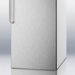 "Summit - CM411LSSTB 20"" 4.1 cu.ft. Capacity Under-Counter Refrigerator-Freezer With Facto - Sized at just under 20 wide the CM411LSSTB is designed for freestanding use It has a white cabinet with a 304 grade stainless steel wrapped door and curved towel bar handle for a modern look A top-mounted lock offers convenient security The manual de..."