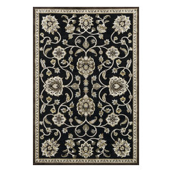 """Loloi Rugs - Loloi Rugs Halton Collection - Black / Gold, 3'-10"""" Round - The colors are vivid and the transitional designs are appealing, but what really stands out in Halton is the details. Take a closer look (or zoom in) and you'll notice Halton was expertly designed with subtle shadings and intricate patterns to give it the appearance of a hand-crafted rug. Power loomed in Turkey, the viscose surface is raised against a chenille base, giving Halton an element of dimension and texture that adds character and enhances perceived value. Also, the viscose surface has an irresistible shimmer, which further adds to its sophisticated appearance."""