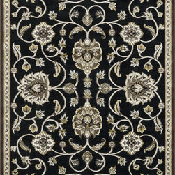 "Loloi Rugs - Loloi Rugs Halton Collection - Black / Gold, 3'-10"" x 5'-7"" - The colors are vivid and the transitional designs are appealing, but what really stands out in Halton is the details. Take a closer look (or zoom in) and you'll notice Halton was expertly designed with subtle shadings and intricate patterns to give it the appearance of a hand-crafted rug. Power loomed in Turkey, the viscose surface is raised against a chenille base, giving Halton an element of dimension and texture that adds character and enhances perceived value. Also, the viscose surface has an irresistible shimmer, which further adds to its sophisticated appearance."