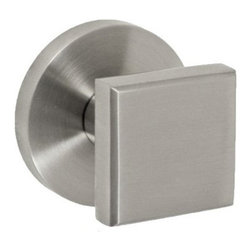 Stainless Steel Square Knobset - A modern styled tubular stainless steel door knob, Fusion Hardware's 05-A2 is available in either brushed or polished stainless steel finishes. The square shape allows for this modern material knob and rose set to look great in all contemporary decors. It is backed by a lifetime warranty. Passage or privacy function.  It will fit 1-1/4 inch to 2 inch thick doors and has an optional backset for either 2-3/8 inches or 2-3/4 inches.