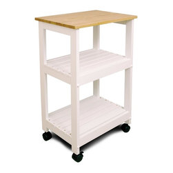 Catskill Craftsmen - Utility & Microwave Kitchen Cart w 2 Slat She - Finish: Natural Top w Black BaseAdd extra counter and storage space and a shot of extra style to your kitchen decor with this stylish cart, featuring slatted lower shelves in a crisp white finish and a solid top in natural. It has a castered base for easy mobility, and will be a functional addition to any kitchen. Made of Rubberwood - hardwood taken from a rubber tree. Solid 0.75 in. natural lacquered top. Slatted shelves. Sturdy locking caster wheels. Minimal assembly required. Overall: 15.25 in. L x 21 in. W x 34.25 in. H (22 lbs.). Table top: 15.25 in. L x 21 in. W. Top shelf: 13 in. L x 17 in. W x 8.5 in. H. Bottom shelf: 13 in. L x 17 in. W x 16.5 in. HA simple yet highly functional, microwave & utility cart is large and sturdy enough for microwaves, TVs or other contemporary appliances, yet fits into small workspaces.