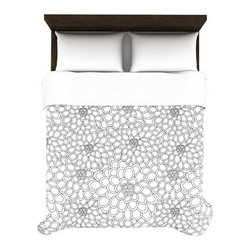 Floral Stencil Duvet Cover - Tremendously soft and ultra comfy microfiber material, this Floral Stencil Duvet Cover is a must-have for your new college room. Color the rest of your room, and let this Duvet pop. See your room differently with this 60's-inspired, floral stencil design.