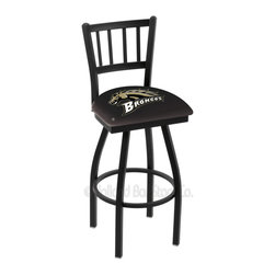 Holland Bar Stool - Holland Bar Stool L018 - Black Wrinkle Western Michigan Swivel Bar Stool - L018 - Black Wrinkle Western Michigan Swivel Bar Stool w/ Jailhouse Style Back belongs to College Collection by Holland Bar Stool Made for the ultimate sports fan, impress your buddies with this knockout from Holland Bar Stool. This contemporary L018 Western Michigan stool carries a defined Jailhouse back that doesn't just add comfort, but sophistication. Holland Bar Stool uses a detailed screen print process that applies specially formulated epoxy-vinyl ink in numerous stages to produce a sharp, crisp, clear image of your desired logo. You can't find a higher quality logo stool on the market. The plating grade steel used to build the frame is commercial quality, so it will withstand the abuse of the rowdiest of friends for years to come. The structure is powder-coated black wrinkle to ensure a rich, sleek, long lasting finish. Construction of this framework is built tough, utilizing solid welds. If you're going to finish your bar or game room, do it right- with a Holland Bar Stool. Barstool (1)