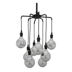 Nuevo Living - Ocelot Pendant - Ocelot Multi Pendant features eight arms in Black finish. Eight 150 watt 120 volt Globe shape incandescent lamps not included. 16 inch diameter x 30 inches high.
