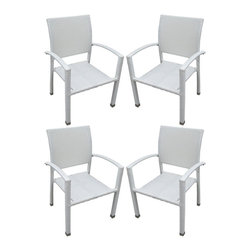 Modway - Bella Dining Chairs Set of 4 in White - Relax in confidence, as you effortlessly unite diverse forces to take center stage. Wealth and success surround you and draw attention to greater heights. This outdoor wicker dining chair has a sturdy aluminum frame covered with a white rattan weave.