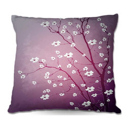 DiaNoche Designs - Pillow Woven Poplin from DiaNoche Designs by Monika Strigels Blooming Tree Red W - Toss this decorative pillow on any bed, sofa or chair, and add personality to your chic and stylish decor. Lay your head against your new art and relax! Made of woven Poly-Poplin.  Includes a cushy supportive pillow insert, zipped inside. Dye Sublimation printing adheres the ink to the material for long life and durability. Double Sided Print, Machine Washable, Product may vary slightly from image.