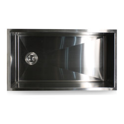 "Nantucket Sinks - Nantucket Sink zr3218-sr - 32"" Pro Series large Rectangle Single Bowl Undermount - Space Centric Designed Undermount Pro Series Kitchen Sink.  The location of these pipes being offset will allow space under the sink for recycling bins and waste basket maximizing your under sink space.  Normally this space is reduced by plumbing being centrally located.  The design allows for the drain and the or garbage disposal to be mounted on the side leaving ample room underneath for slide out recycle and trash bins."