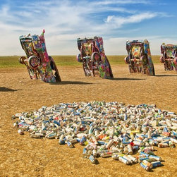Cadillac Ranch Artwork - Cadillac Ranch with paint spray can mound in foreground. Let's make art.