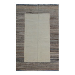 "ALRUG - Handmade Beige Oriental Kilim  6' 8"" x 10' 4"" (ft) - This Afghan Kilim design rug is hand-knotted with Wool on Wool."