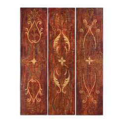 Uttermost - Elegant Panels, Set of 3 - So tall, these elegant hand-painted panels will add a vibrant splash of color and artistry to your space. Perk up a boring corner or hinge them together to divide a room. They're hand painted on cracked canvas and glazed to give depth and interest.