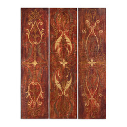 Uttermost - Elegant Panels Set of 3 - So tall, these elegant hand-painted panels will add a vibrant splash of color and artistry to your space. Perk up a boring corner or hinge them together to divide a room. They're hand painted on cracked canvas and glazed to give depth and interest.