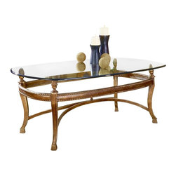 "Hammary - Hammary Suffolk Bay Rectangular 2-Piece Glass Top Cocktail Table Set - The best ideas in designs from around the world - combined with the finest materials available - meet in this new collection to create an unforgettable look for your home. ""Suffolk Bay"" was inspired by the stately plantations of 19th century British west indies, a colonial period that married the furniture styles of Georgian England with the materials of island living. The result: style mixed with durability. Crafted from Honduras pine and finished in a clear antique tone, select items feature padded leather and woven veneer inserts. The hardware is crafted from the finest antique brass, adding a note of authenticity. Most items are highlighted with a carved pineapple motif or diagonal basket weave panels. Whether you live on a south pacific island, a southern plantation, or in a neighborhood with the joneses, ""Suffolk Bay"" from Hammary promises to add class and unsurpassed style to your decor."