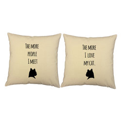 RoomCraft - 'I Love My Cat' Throw Pillows, Natural Cushions, Set of 2 - FEATURES: