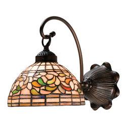 Meyda - 8 Inch W Turning Leaf 1-Light Wall Sconces - Color theme: Bapa 59r mahogany bronze