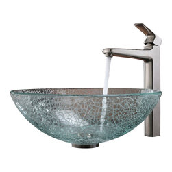 Kraus - Kraus Mosaic Glass Vessel Sink and Virtus Faucet Brushed Nickel - *Add a touch of elegance to your bathroom with a glass sink combo from Kraus