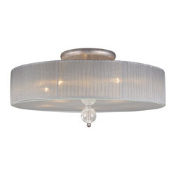 Elk Lighting - Elk Lighting ELK-20006-5 Alexis Transitional Semi Flush Mount Ceiling Light - With a bold, metropolitan style, the Alexis collection exudes glamour and sophistication. Blown crackled glass spheres are highlighted by a soft light that passes through the translucent silver shades, while an Antique Silver frame enhances its graceful allure.