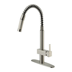 Vigo - Vigo Stainless Steel Pull-Out Spray Kitchen Faucet with Deck Plate - You deserve a kitchen that reflects your personality. Why not start with this stylish and durable Vigo faucet for your sink?