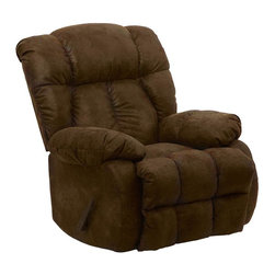 Catnapper - Laredo Recliner - Massive dimensions. Plush comfort with stitch details. Extra padded chaise seating. Durable steel seat box. Unitized steel base. The strongest, most durable base in the recliner industry. Resists bending or wear. Reclining Mechanism:. Installed with noiseless sure-lock spring clips. Strongest recliner seat box available. No warping or splitting in this critical area (standard on most models). Direct drive cross bar ensures that both sides of the mechanism operate together, in sequence, for longer life. Heavy 8-gauge sinuous steel springs in the seat provide strength, comfort and flexibility. Made of 100% polyester. Cleaning Method:. Clean only with water-based shampoo or foam upholstery cleaner. Do not over wet. Do not use solvent. Do not saturate with liquid. Pile fabrics may require brushing to restore appearance. Cushion covers should not be removed and laundered. No assembly required. Limited lifetime warranty. 41 in. L x 41 in. W x 44 in. H (130 lbs.)