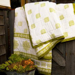 Sage Midori  Quilts - Sage Midori Handmade Quilt from Attiser - Sage Midori block print adorns the façade of this handsome quilt, a serene green on white at its center. Hand Block Printed from Attiser