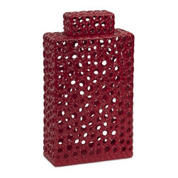 iMax - Carson Tall Cutwork Urn - With a striking and bold red color, this tall modern stylized cutwork urn features a rectangular geometric form accented by organically derived circle cut outs.