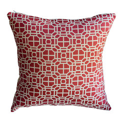 KH Window Fashions, Inc. - Red Modern Geometric Decorative Pillow - This modern geometric pillow will compliment any decor.