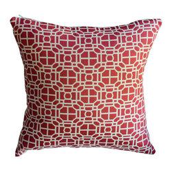 KH Window Fashions, Inc. - Red Modern Geometric Decorative Pillow - This modern geometric pillow will compliment any decor.