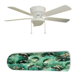 """Fish Fishing Dad's Den 52"""" Ceiling Fan with Lamp - This is a brand new 52-inch 5-blade ceiling fan with a dome light kit and designer blades and will be shipped in original box. It is white with a flushmount design and is adjustable for downrods if needed. This fan features 3-speed reversible airflow for energy efficiency all year long. Comes with Light kit and complete installation/assembly instructions. The blades are easy to clean using a damp-not wet cloth. The design is on one side only/opposite side is bleached oak. Made using environmentally friendly, non-toxic products. This is not a licensed product, but is made with fully licensed products. Note: Fan comes with custom blades only."""