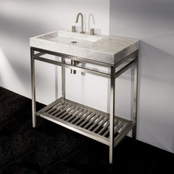 Lacava Stone Single Bowl Vanity - This sleek freestanding open vanity with brushed stainless steel legs and shelf would be wonderful in a guest bath or powder room. A bit of storage for towels underneath, and I love the offset sink for a bit of extra counterspace to the right.