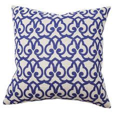 One Kings Lane - Ready Your Rooms - London Print 22x22 Cotton Pillow, Blue
