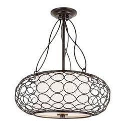Trans Globe PND-820 Pendant - Brown - 18W in. - Light up your home or office in chic, artistic style with the Transglobe PND-820 Pendant - Brown - 18W in. Expertly crafted of brushed metal, with infinity scrolls lining the outer shade and circling frosted glass, this handsome pendant light makes an elegant statement of style.This pendant light kit requires two 60-watt medium base bulbs, which are not included. Dimensions: 18W x 21.25H inches.About Trans Globe Lighting, Inc.Born from the hopes and dreams of two entrepreneurial spirits in 1986, Trans Globe Lighting offers one of the most comprehensive and stylish collections of residential lighting in the world. This family owned company based in North Hollywood, Calif., is marked by personal involvement, with a wide variety of products available at the lowest prices. From traditional to ultra-contemporary in style, Trans Globe has just the right light for you.