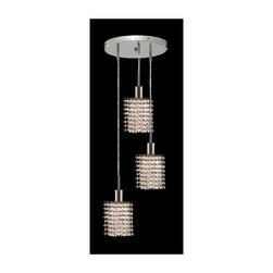 Elegant Lighting - Mini Clear Crystal Pendant w 3 Lights in Chrome (Royal Cut) - Choose Crystal: Royal Cut. 3 ft. Chain/Wire Included. Bulbs not included. Crystal Color: Crystal (Clear). Chrome finish. Number of Bulbs: 3. Bulb Type: GU10. Bulb Wattage: 55. Max Wattage: 165. Voltage: 110V-125V. Assembly required. Meets UL & ULC Standards: Yes. 9 in. D x 8 to 48 in. H (9lbs.)Description of Crystal trim:Royal Cut, a combination of high quality lead free machine cut and machine polished crystals & full-lead machined-cut crystals..SPECTRA Swarovski, this breed of crystal offers maximum optical quality and radiance. Machined cut and polished, a Swarovski technician¢s strict production demands are applied to this lead free, high quality crystal.Strass Swarovski is an exercise in technical perfection, Swarovski ELEMENTS crystal meets all standards of perfection. It is original, flawless and brilliant, possessing lead oxide in excess of 39%. Made in Austria, each facet is perfectly cut and polished by machine to maintain optical purity and consistency. An invisible coating is applied at the end of the process to make the crystal easier to clean. While available in clear it can be specially ordered in a variety of colors.Not all trims are available on all models.