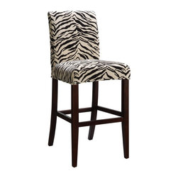 Powell - Powell Slip-Over Cover for Bar or Counter Stools - White & Onyx Tiger Stripe - 7 - Shop for Stools from Hayneedle.com! Meow. The Powell Slip-Over Cover for Bar or Counter Stools - White & Onyx Tiger Stripe has some serious flair going on. Just the thing to jazz up your decor this 82% rayon/18% polyester upholstery cover boasts an exotic tiger stripe pattern in white and onyx. Designed to be used with Powell Slip Over Bar Stools or Counter Stools this cover can also work with upholstered stools measuring 18.5W x 20.5D x 24H or 30H inches. And if you're not totally committed to this wild look you can just slip it on or off whenever your mood shifts. Please note: This item is not intended for commercial use. Warranty applies to residential use only.More About Powell FurnitureBased in Culver City Calif. the Powell company designs imports and distributes occasional dining accent and youth furniture across all style categories. Since 1968 Powell has grown to become one of the most recognized names in the home furniture industry. From sturdy safe childrens furniture to elegant bedroom and other home collections Powell continues to develop new and exciting designs for homes around the globe.