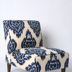 Indigo Ikat Slipper Chair