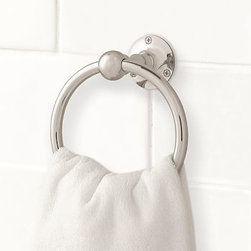 "Sussex Towel Ring, Polished Nickel finish - Our Sussex Towel Ring has a versatile design that suits baths of all styles.6.5"" wide x 6.5"" deep x 4"" highCrafted of die-cast brass, thickly plated for strength.Sealed with a clear protective lacquer.Mounting hardware included. View our {{link path='pages/popups/fb-bath.html' class='popup' width='480' height='300'}}Furniture Brochure{{/link}}. Catalog / Internet Only."