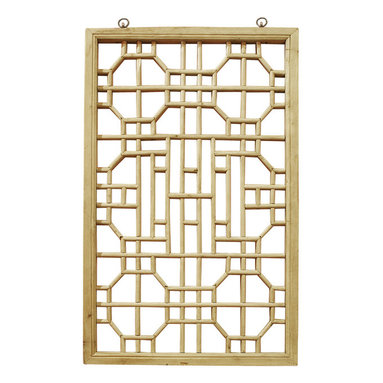 China Furniture and Arts - Window Panel Shutter (8) - Once used as a window shutter in a traditional village house in Zhe Jiang Province, China, some panels are as old as 60-80  years old. Our hand carved hardwood window panel will no doubt supply its own special intrigue, whatever surface it decorates. Sizes are approximate. Metal hangers included.