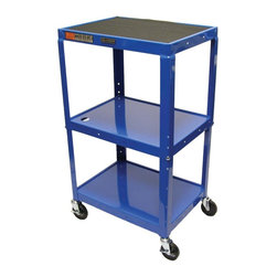 Luxor Furniture - 18 in. Adjustable AV Cart in Royal Blue - Includes 4 in. swivel casters and safety mats. Two casters with locking brake. 3-outlets 15 ft. UL and CSA listed electrical assembly with cord plug snap. Three shelves. Roll formed shelves with powder coat paint finish. 0.25 in. lip around each shelf. Robotically welded and cables pass through holes. Made from steel. Made in USA. 24 in. L x 18 in. W x 24 - 42 in. H. Warranty