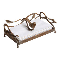 Metal Bird Guest Towel Holder - Perfect for kitchen, guest bath, and parties on the terrace, our charming bird napkin holder has a pleasing blend of rustic, yet elegant design that will accent any décor. Holds guest towels or long dinner sized napkins. Weighted bar will hold napkins in place.
