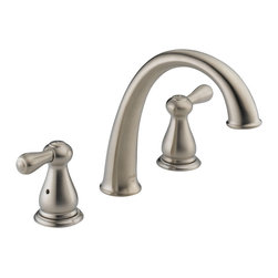 Delta - Leland J-Spout Roman Tub Faucet Trim in Stainless - Delta T2775-SS Leland J-Spout Roman Tub Faucet Trim in Stainless. After you've washed the dishes and put the kids to bed, is there anything better than relaxing in a hot bath?  Let Delta help you soak the day away with one of our distinctive roman tub faucets.  The Leland Bath Collection gracefully reinterprets the time-honored teapot design with decorative, traditional detailing.Delta T2775-SS Leland J-Spout Roman Tub Faucet Trim in Stainless, Features:Must purchase rough-in kit R2707 separately