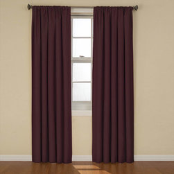 Eclipse - Aubergine 63-Inch Blackout Window Curtain Panel - - Experience the darkness, silence and beauty of Eclipse curtains. Eclipse blackout panels have been laboratory-tested to block out over 99% of intrusive light, unwanted noise and can help you save on home heating and cooling costs. Eclipse curtains offer a unique blend of fashion and function for any home decor. Transform your media room into the ultimate home theater experience, or create ambiance in your dining area. National Sleep Foundation studies show that reduced light and noise are optimal for a better nights sleep. Eclipse Curtains are perfect for the bedroom, kids room or nursery, providing the ideal sleep environment for the whole family. The magic is in the Thermaback construction. The innovative foam-backing is applied to the fabric and allows you to enjoy all of the light-blocking, noise reducing and energy saving benefits, while providing the same fashionable style and elegance of naturally flowing curtains. Hang two or more curtain panels on a standard or decorative rod for optimal coverage and desired effect. Sold as a single rod-pocket panel measuring 42-in wide in your choice of 63, 84, or 95-in lengths. Woven drapery offers a subtle texture is available in cafe beige, black, chocolate brown, ruby red, ivory, stone blue, artichoke green, and aubergine purple. - Curtain rod sold separately.  -Machine wash gentle cycle, tumble dry, do not bleach. Imported. Eclipse - 10536042X063AU