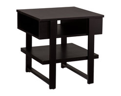 Holly & Martin - Holly & Martin Cloke End Table - Storage abounds in this contemporary, black end table. Our Cloke tables are all about making space for you with shelves wide enough to stack magazines and deep compartments for your remotes and small accessories. You will love the organization this end table provides.
