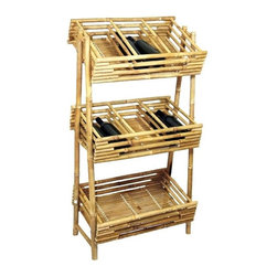 Bamboo54 - Bamboo Wine Tray Rack - A very unique rack for many uses. Spirits, knick knacks, etc are some of the things you can display on this handsome rack. Made of Bamboo. 12 in. W x 26.5 in. L x 19 in. H
