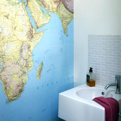 eclectic  Map in the bathroom