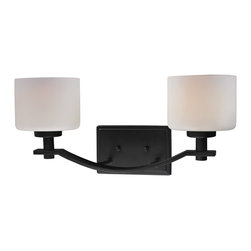 Z-Lite - Z-Lite Arlington Bathroom Light X-V2-022 - Bold and thick framing define this two light vanity. Finished in oil rubbed bronze, the fixture also has complimentary matte opal glass shades, which create a soft yet modern look.