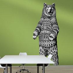 My Wonderful Walls - Grizzly Bear Wall Sticker Decal – Ornate Animal Art by BioWorkZ, Medium - - Product: ornate grizzly bear wall sticker decal