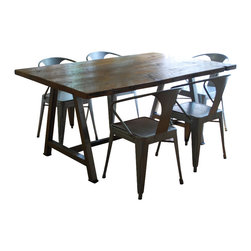 Urban Wood Goods - Rustic Modern Architect Table - Top form: The reclaimed wood top on this architectural dining table is so rich, interesting and beautiful that you may want to ditch the placemats and tablecloths all together. Each board carries the marks of previous years' use, and is truly one of a kind. Definitely stiff competition for the doily set.