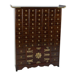 Oriental Furniture - Korean Antique Style 63 Drawer Apothecary Chest - Authentic east Asian herbal medicine chest hand crafted in a classic Korean / Japanese antique design, with sixty nine miniature drawers, traditionally used for medicinal powders, minerals, roots and herbs. Finished in a richly grained dark stained Elmwood and accented by etched oriental brass fittings, the slim profile means you can place this cabinet against a wall without impeding foot traffic.