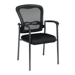 Office Star - Office Star Titanium Finish Visitors Chair With Arms and ProGrid Back - Titanium Finish Visitors Chair with Arms. Breathable ProGrid Back with Built-in Lumbar Support. Black Fabric Padded Seat. Sturdy Titanium Finish Arms and Frame. Stackable (Can also be stacked with 84540) What's included: Office Chair (1).
